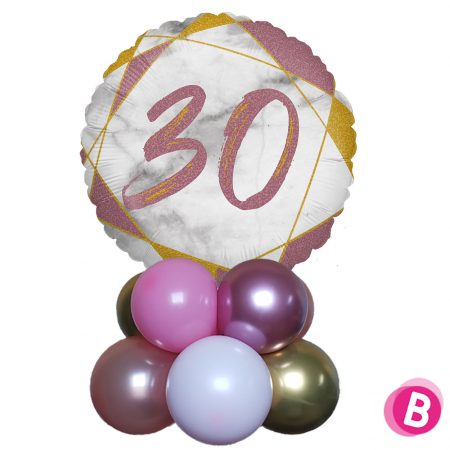 Ballon Anniversaire Décor de table 30 Rose et Or