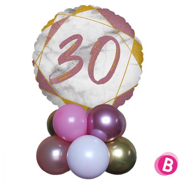 Ballon Anniversaire Décor de table 30 Rose et Or