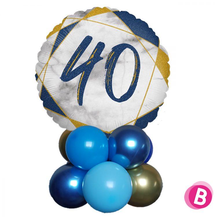 Ballon Anniversaire Décor de table 40 Bleu et Or