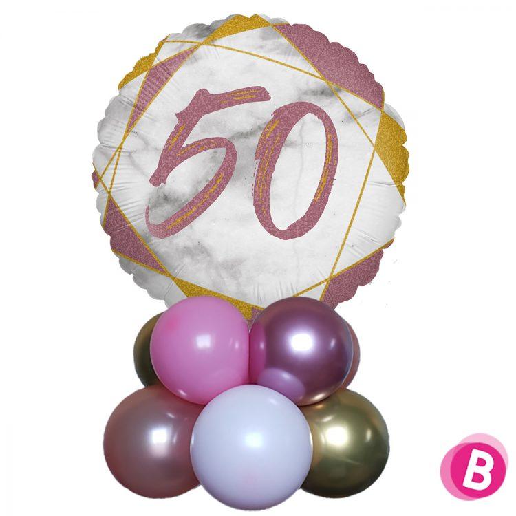 Ballon Anniversaire Décor de table 50 Rose et Or