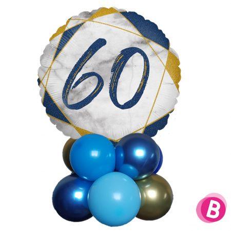 Ballon Anniversaire Décor de table 60 Bleu et Or