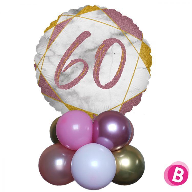 Ballon Anniversaire Décor de table 60 Rose et Or