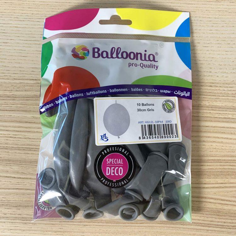 pochette 10 ballons construction gris