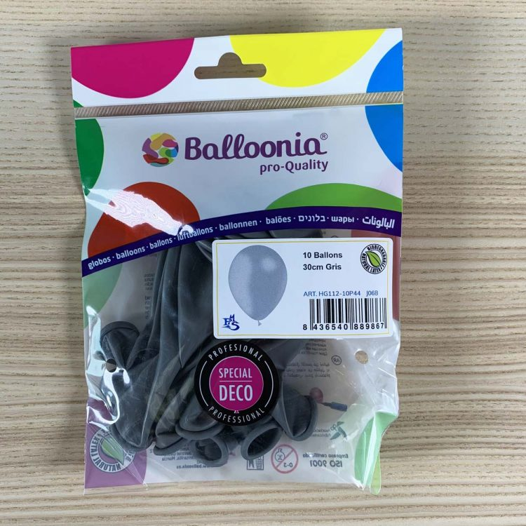 pochette ballons gris 30cm