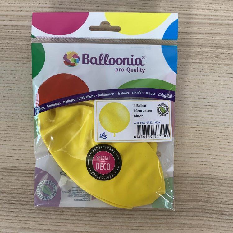 Pochette Ballon 60cm Jaune Citron