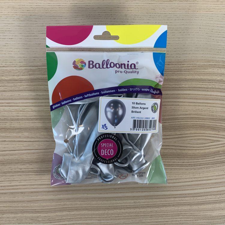 Pochette Ballons 30cm Argent Brillant