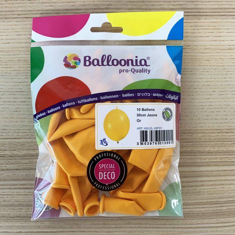pochette 10 ballons construction jaune or