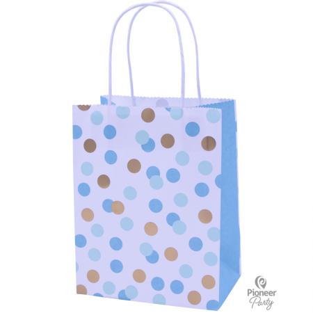 Sac Cadeau Confettis Bleu et Or