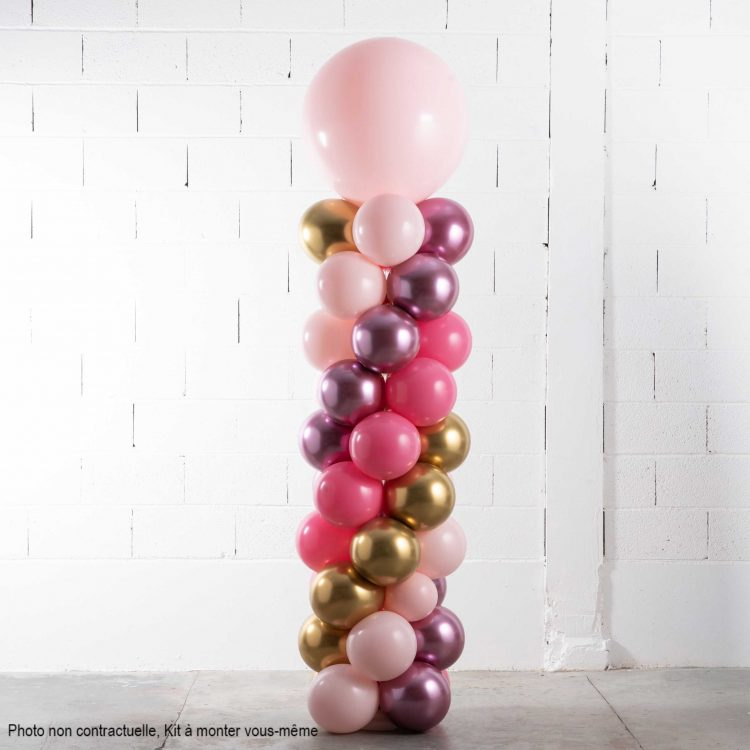 kit colonne ballons rose et or