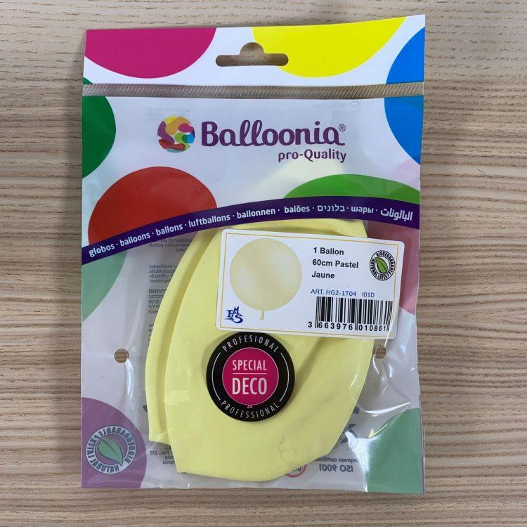 Pochette Ballon 60cm Jaune Pastel